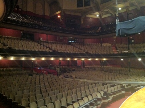 What Massey Hall looks like at 9:00am. Note the fly point for audio in the upper right.